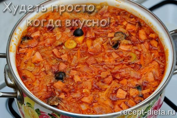 Солянка рецепт с колбасой без картофеля пошаговый рецепт с